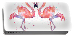 Flamingo Love Watercolor Portable Battery Charger