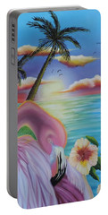 Portable Battery Charger featuring the painting Flamingo Sunset by Dianna Lewis
