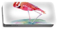 Flamingo View Portable Battery Charger by Amy Kirkpatrick