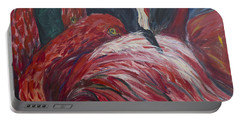 Portable Battery Charger featuring the painting Flamingos by Avonelle Kelsey