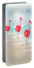 Flamingos On The Beach Portable Battery Charger by Jane Schnetlage