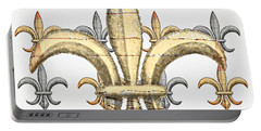 Fleur De Lys Silver And Gold Portable Battery Charger