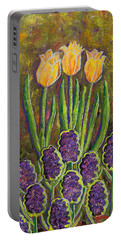 Fleurs D' Tulips And Hyacinths Portable Battery Charger by Margaret Bobb