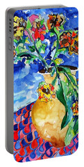 Portable Battery Charger featuring the painting Flip Of Flowers by Esther Newman-Cohen