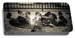 Flockin' Around The Fire Portable Battery Charger by Melinda Ledsome