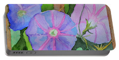 Portable Battery Charger featuring the painting Florence's Morning Glories by Beverley Harper Tinsley