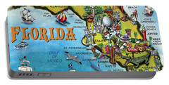 Florida Cartoon Map Portable Battery Charger