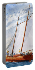 Florida Catboat At Sea Portable Battery Charger by Roger Rockefeller