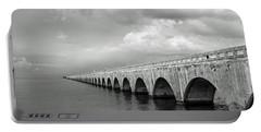 Florida Keys Seven Mile Bridge Black And White Portable Battery Charger