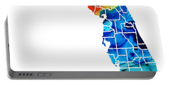 Florida - Map By Counties Sharon Cummings Art Portable Battery Charger