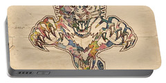 Florida Panthers Hockey Poster Portable Battery Charger by Florian Rodarte