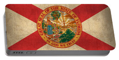 Florida State Flag Art On Worn Canvas Portable Battery Charger by Design Turnpike