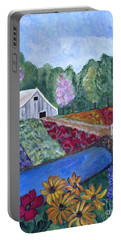 Flower Farm -poppies Daisies Lavender Whimsical Painting Portable Battery Charger by Ella Kaye Dickey
