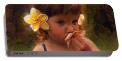 Flower Girl - Tropical Portrait With Plumeria Flowers Portable Battery Charger by Karen Whitworth