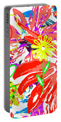 Portable Battery Charger featuring the mixed media Flower Power by Beth Saffer