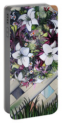 Floral Wreath Portable Battery Charger by Mary Ellen Frazee