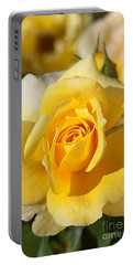 Flower-yellow Rose-delight Portable Battery Charger by Joy Watson