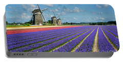 Landscape In Spring With Flowers And Windmills In Holland Portable Battery Charger