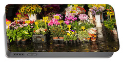 Flowers For Sale At Campo De Fiori - My Favourite Market In Rome Italy Portable Battery Charger