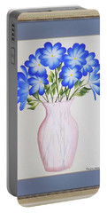 Flowers In A Vase Portable Battery Charger by Ron Davidson