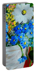 Flowers In A White Vase Portable Battery Charger