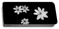 Flowers In Black Portable Battery Charger