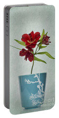 Flowers In Blue Vase Portable Battery Charger