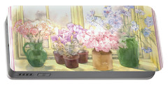 Flowers On The Windowsill Portable Battery Charger