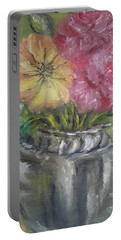 Portable Battery Charger featuring the painting Flowers by Teresa White