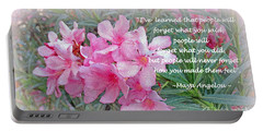 Flowers With Maya Angelou Verse Portable Battery Charger by Kay Novy