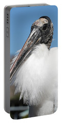 Fluffy Wood Stork Portable Battery Charger by Carol Groenen