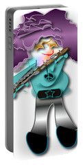 Portable Battery Charger featuring the digital art Flute Player by Marvin Blaine