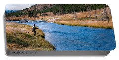 Portable Battery Charger featuring the photograph Fly Fishing In Yellowstone  by Lars Lentz