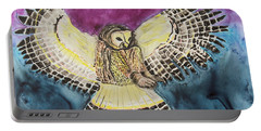 Portable Battery Charger featuring the painting Flying Owl by Jeanne Fischer
