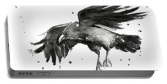 Flying Raven Watercolor Portable Battery Charger