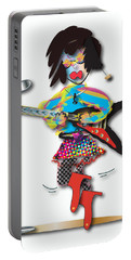 Portable Battery Charger featuring the digital art Flying V Girl by Marvin Blaine