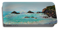 Foamy Ocean Waves And Sandy Shore Portable Battery Charger by Asha Carolyn Young