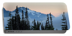 Mt. Rainier's Foggy Sunset Portable Battery Charger by E Faithe Lester