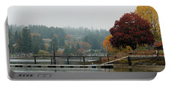 Foggy Day In October Portable Battery Charger by E Faithe Lester