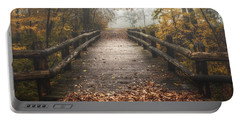 Foggy Lake Park Footbridge Portable Battery Charger