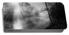 Foggy Misty Morning Sunrise On James River Portable Battery Charger