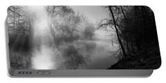 Foggy Misty Morning Sunrise On James River Portable Battery Charger by Jennifer White