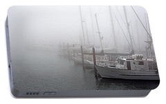 Portable Battery Charger featuring the photograph Foggy Morning In Charleston Harbor by AJ  Schibig