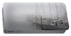 Foggy Morning In Charleston Harbor Portable Battery Charger