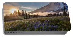 Foggy Rainier Sunset Portable Battery Charger