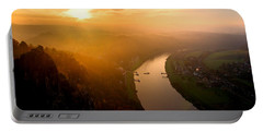 Foggy Sunrise At The Elbe Portable Battery Charger