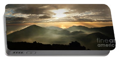 Foggy Sunrise Over Haleakala Crater On Maui Island In Hawaii Portable Battery Charger