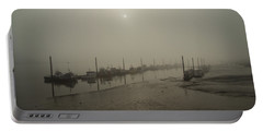 Foggy Sunset On River Medway Portable Battery Charger