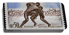 Folk Wrestling Vintage Postage Stamp Print Portable Battery Charger