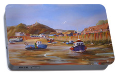 Portable Battery Charger featuring the painting Folkestone Harbour Low Tide by Beatrice Cloake
